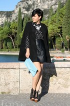 black shoes - light blue clutch bag - black leather vintage skirt