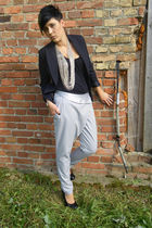 black New Yorker shirt - black H&M blazer - silver 3 suisses pants - black bullb