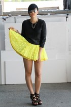 black Primark heels - yellow Jones and Jones dress - black H&M sweater