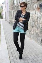 crochet Chicwish shorts - Sheinside blazer - stripes H&M shirt