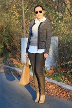 brown Sheinside sweater - light brown Eclipse boots - black yest jacket