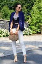 navy H&M blazer - camel clutch Hallhuber bag - camel Primark heels