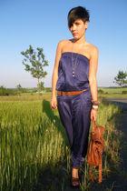 blue 3 suisses suit - brown Deichmann shoes - brown Primark accessories