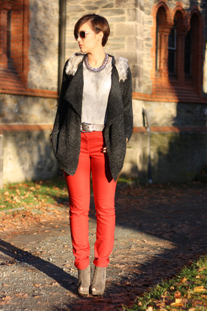 red yest pants - Primark shirt - Chicwish cardigan