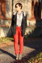 red yest pants - Primark shirt - Chicwish cardigan