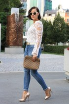 bronze Buffalo heels - blue high waist Primark jeans