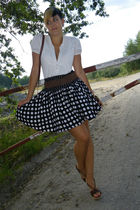 black unknown skirt - white yest shirt - brown vintage belt - brown from crete s