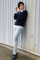 periwinkle Only jeans - navy popcouture sweater - cream H&M blouse