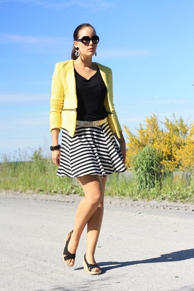yellow Sheinside jacket - white Moschino belt - black Primark skirt