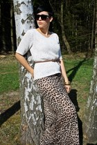 beige Catwalk shoes - off white vintage shirt - dark brown leo Primark skirt - l