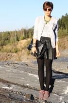 college Primark jacket - skull print H&M shirt - leather Primark skirt
