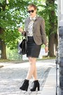 Olive-green-military-zara-blazer-black-bag-black-yest-skirt