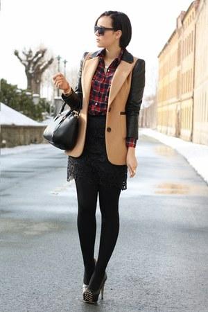leather sleeves ohmyfrock jacket - noname shirt - romwe bag