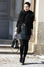 Turquoise-blue-skirt-black-bag-black-fake-fur-new-yorker-vest-black-heels
