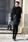 Turquoise-blue-skirt-black-bag-black-fake-fur-new-yorker-vest-black-heels