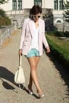 crochet shorts - H&M blazer - Primark bag - pearl collar blouse - Primark heels