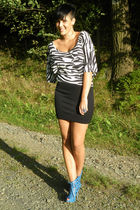 white Primark shirt - black vintage skirt - blue via eBay shoes