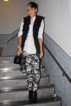 white Primark blouse - black New Yorker vest - black Buffalo shoes - H&M legging