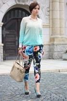 dip dye Primark sweater - Marc B bag - floral H&M pants - asos heels