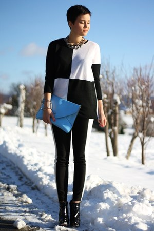 black romwe shirt - black Buffalo boots - sky blue bag - white H&M pants