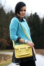 Light-yellow-new-yorker-bag-sky-blue-sweater-black-leather-primark-skirt