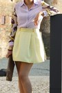 Light-purple-blouse-brown-hallhuber-bag-deep-purple-primark-heels