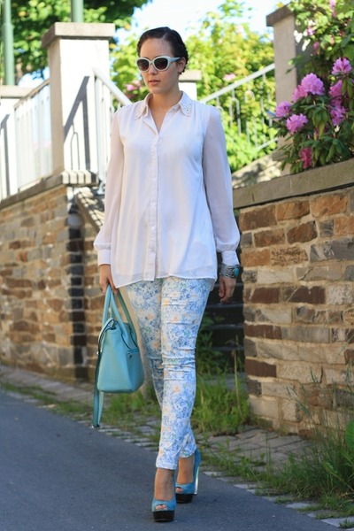 sky blue Bulaggi bag - light blue Sheinside pants - white romwe blouse