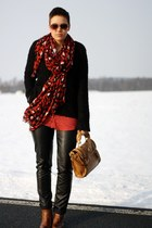 brick red Primark scarf - burnt orange boots - black New Yorker sweater
