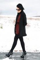 brick red Love dress - black Buffalo boots - black vintage coat