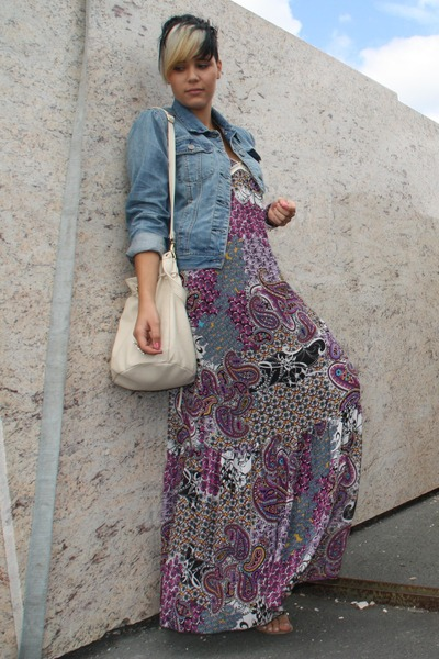 purple Hallhuber dress - beige Deichmann shoes - beige Primark bag - blue Primar