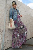purple Hallhuber dress - beige Deichmann shoes - beige Primark bag - blue Primar