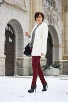 peplum asos shirt - Buffalo boots - yeti coat - pants