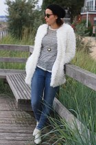 white Chicwish coat - white Jessica Buurman boots - blue Primark jeans