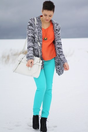 aquamarine Primark pants - black Primark boots - carrot orange Primark shirt