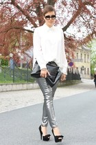 silver Primark pants - black VJ-style bag - cream romwe blouse