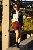 studded Sheinside jacket - Zara shirt - New Yorker skirt - schuhtempel 24 wedges