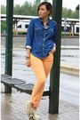 Navy-denim-chicwish-shirt-light-orange-tchibo-pants-gold-zara-pants