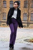 purple jeans - black Primark boots - black Oasis jacket
