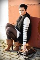 tawny H&M boots - white striped dress 3 suisses dress - dark brown Primark bag -