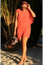 salmon nümph dress - blue wedges Steve Madden heels