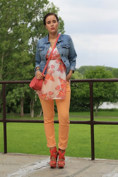 salmon Pimkie bag - blue denim Primark jacket - eggshell Only shirt
