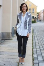 white python H&M pumps - gray Cheap Monday jeans - silver romwe jacket