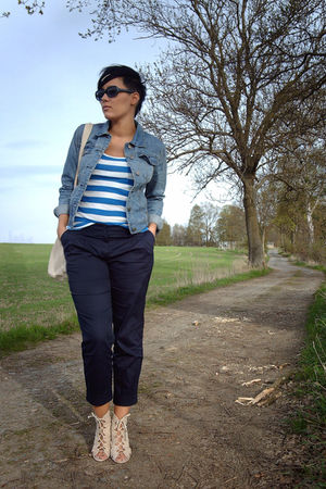 blue Primark jacket - white H&amp;M top - blue Primark pants - beige Primark shoes -