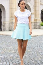 white embellished Primark shirt - light blue H&M skirt - silver asos heels