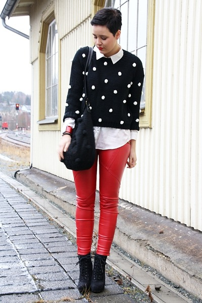 red leather 3 suisses pants - black Primark boots - black Lookbook Store sweater