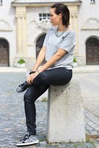 silver sequin REPLAY sneakers - periwinkle Zara shirt