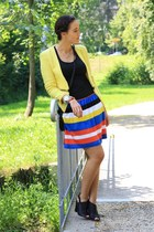 black H&M top - yellow Sheinside jacket - blue stripes Orsay skirt