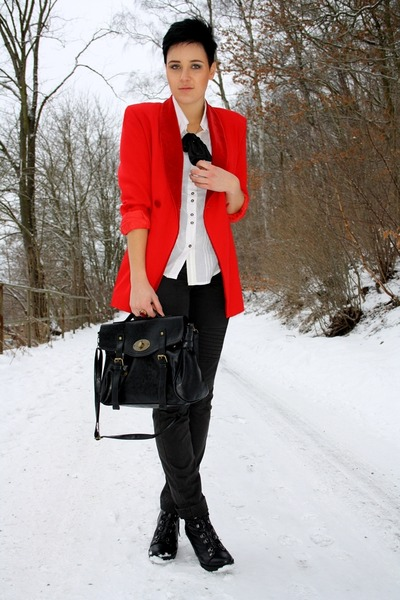 red vintage blazer blazer - black new yorker Bag bag - black mexx pants pants -