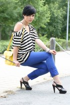 stirped ohmyfrock shirt - yellow New Yorker bag - blue unknown brand pants - bla