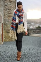 teal scarf - burnt orange H&M boots - dark gray Cheap Monday jeans
